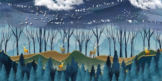 Nowoczesna tapeta ścienna z ciemnoniebieskim tłem lasu dżungli złote jelenie i choinki
