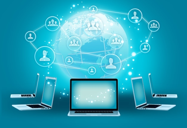 Nowoczesna technologia bezprzewodowa i ilustracja mediów społecznościowych