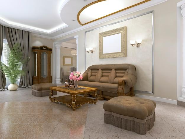 Nowoczesna toaletka z wystrojem w luksusowej sypialni. renderowanie 3d