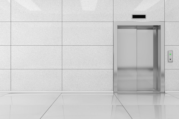 Nowoczesna winda lub winda z metalowymi drzwiami w ekstremalnym zbliżeniu budynku biurowego. renderowanie 3d