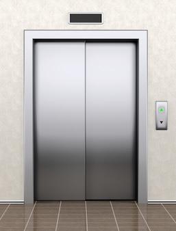 Nowoczesna winda z zamkniętymi drzwiami ekstremalne zbliżenie