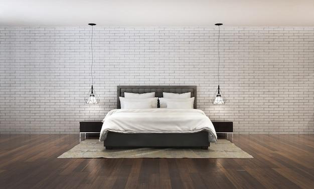 Nowoczesna, współczesna sypialnia renderowania 3d istnieje drewniana podłoga udekorowana białym łóżkiem z tkaniny i ceglaną ścianą tekstury tła