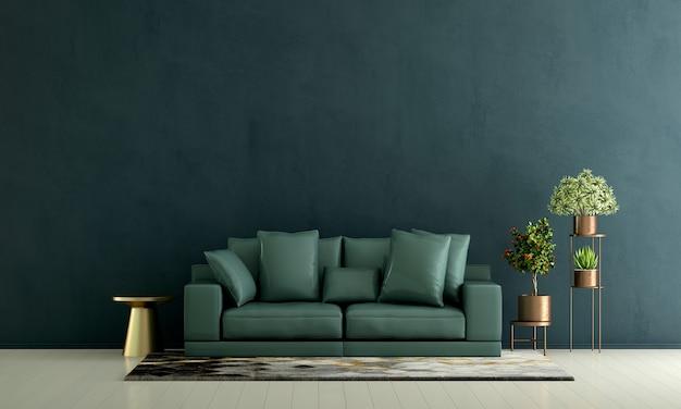 Nowoczesna zielona dekoracja sofy i wnętrze salonu oraz puste tło wzór ściany
