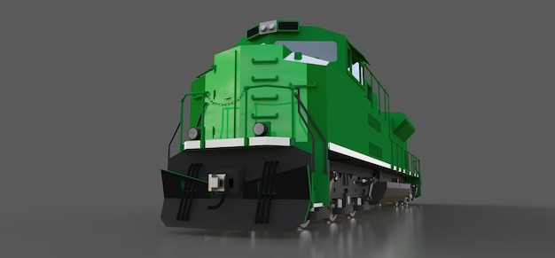 Nowoczesna zielona lokomotywa spalinowa o dużej mocy i sile do długiego poruszania się