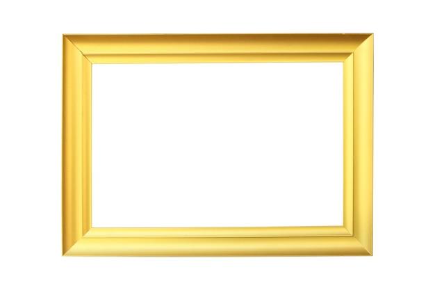Nowoczesna złota ramka na zdjęcia na na białym tle.