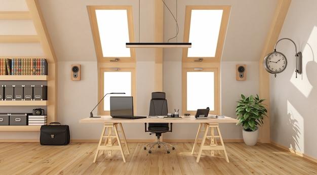 Nowoczesne biuro na poddaszu z drewnianym biurkiem, regałem i dwoma oknami. renderowanie 3d