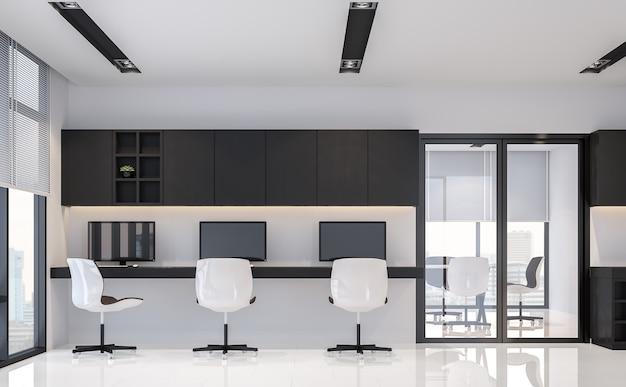 Nowoczesne czarno-białe wnętrze biurowe w minimalistycznym stylu renderowania 3d wyposażone w meble z czarnego drewna