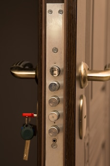Nowoczesne drzwi metalowe i drewniane z zamkiem. strzał zbliżenie