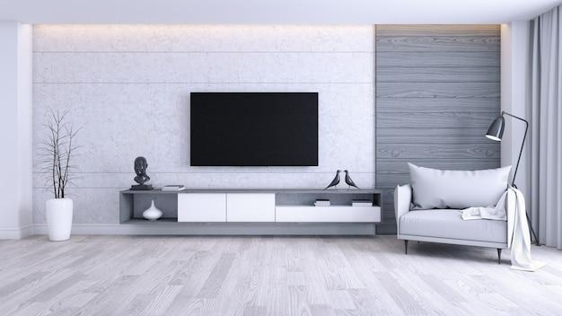 Nowoczesne i minimalistyczne wnętrze salonu, szary fotel z białą szafką tv