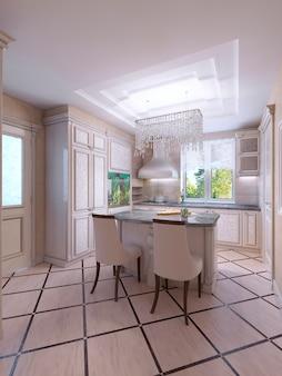 Nowoczesne, jasne, czyste wnętrze kuchni z aplikacjami ze stali nierdzewnej