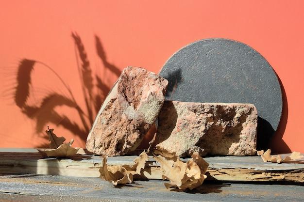 Nowoczesne jesienne ceglane podium z naturalnym dekorem i twardymi cieniami w stylu wabi sabi