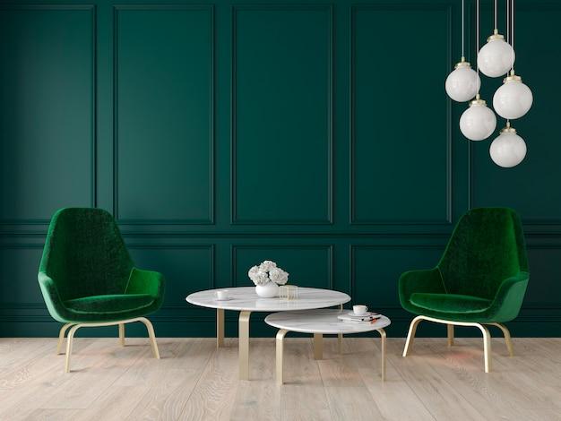 Nowoczesne klasyczne wnętrze z fotelami, lampą, stołem, panelami ściennymi i drewnianą podłogą. ilustracja renderowania 3d.