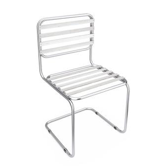 Nowoczesne krzesło metalowe z drewnianymi deskami na białym tle. renderowanie 3d