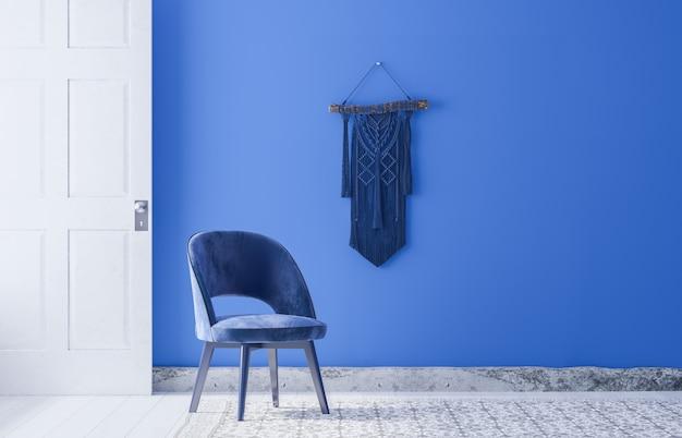 Nowoczesne krzesło z makrame w niebieskim pokoju