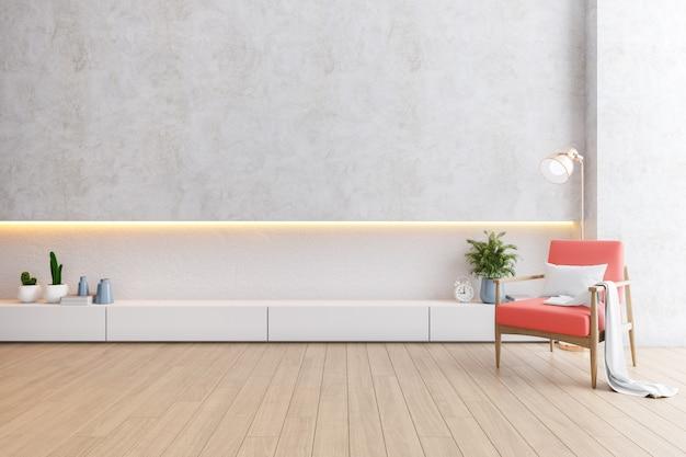 Nowoczesne loftowe wnętrze salonu, koralowe fotele z białą szafką na drewnianej podłodze i białą ścianą, renderowanie 3d