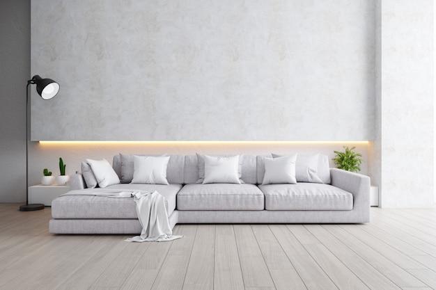 Nowoczesne loftowe wnętrze salonu, szara sofa z czarną lampą na drewnianej podłodze i białej ścianie, renderowanie 3d