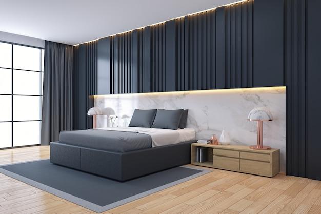 Nowoczesne luksusowe ciemne wnętrze sypialni