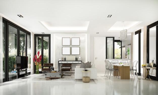 Nowoczesne luksusowe wnętrze salonu i jadalni