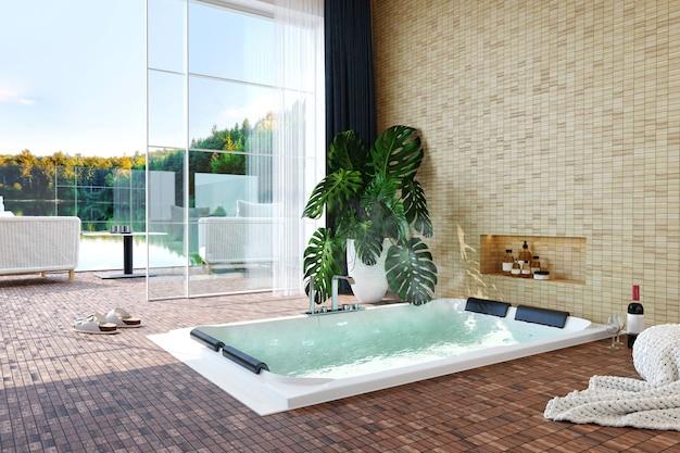 Nowoczesne luksusowe wnętrze z jacuzzi, butelką wina, rośliną i oknem z widokiem