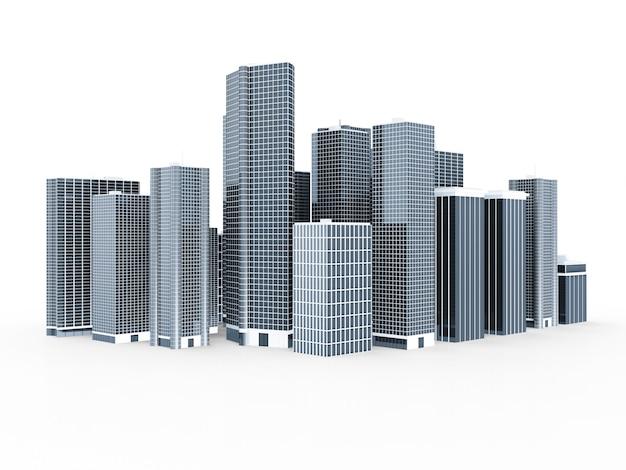 Nowoczesne miasto biznesowe na białym tle
