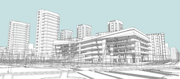 Nowoczesne miasto z wysokimi budynkami, drapaczami chmur, trawnikiem i drzewami. ilustracja 3d.