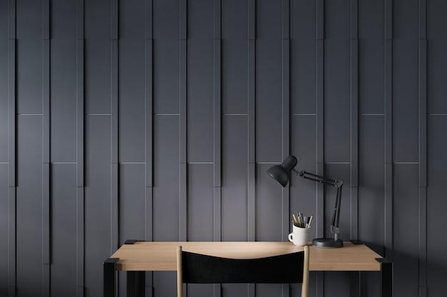 Nowoczesne miejsce do pracy z biurkiem i ścianą z czarnego drewna. renderowanie 3d.