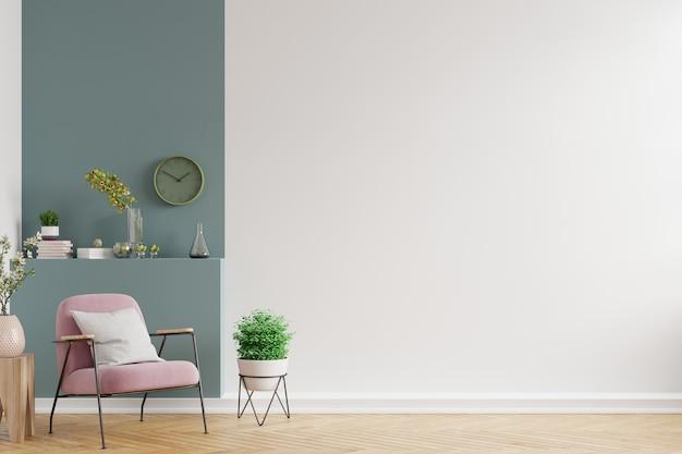 Nowoczesne minimalistyczne wnętrze z fotelem na pustej białej i ciemnozielonej ścianie, renderowanie 3d