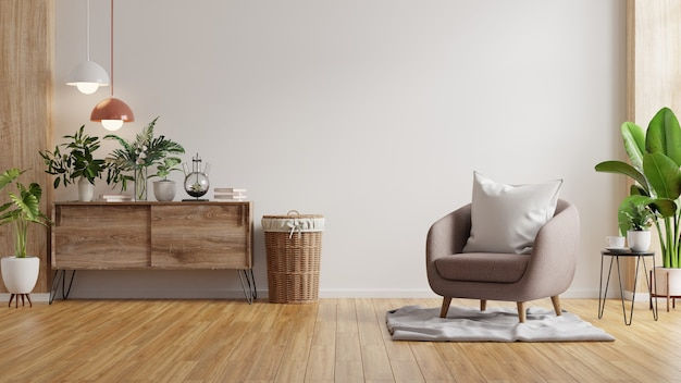 Nowoczesne, minimalistyczne wnętrze z fotelem na pustej białej ścianie renderowania 3d
