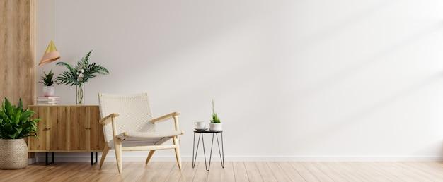 Nowoczesne minimalistyczne wnętrze z fotelem na pustej białej ścianie. renderowanie 3d