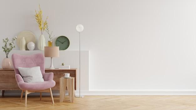 Nowoczesne, minimalistyczne wnętrze z fotelem na pustej białej ścianie, renderowanie 3d