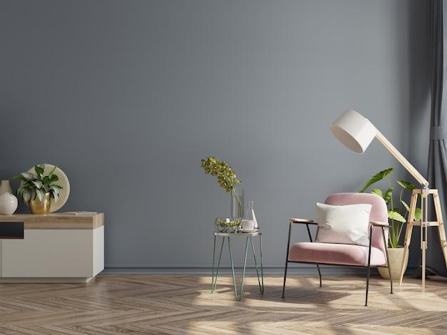 Nowoczesne, minimalistyczne wnętrze z fotelem na pustej ciemnej ścianie, renderowanie 3d