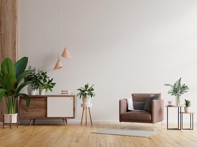 Nowoczesne, minimalistyczne wnętrze z fotelem na tle pustej białej ściany. renderowania 3d