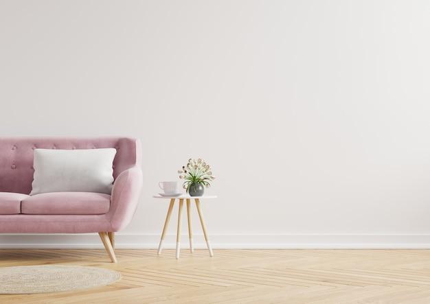 Nowoczesne minimalistyczne wnętrze z sofą na pustej białej ścianie