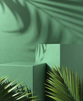Nowoczesne, minimalistyczne zielone podium z liśćmi