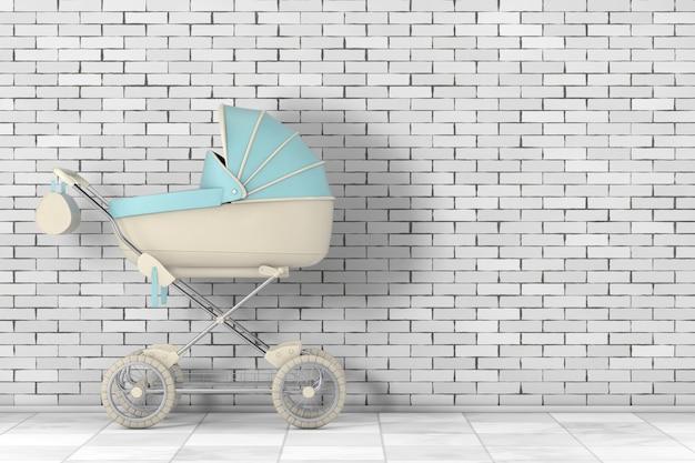 Nowoczesne niebieskie wózki dziecięce, wózek, wózek przed ceglaną ścianą. renderowanie 3d