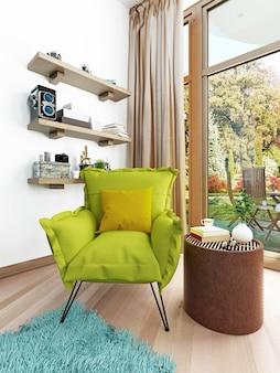 Nowoczesne nowoczesne krzesło w kolorze jasnozielonym w salonie i fotel