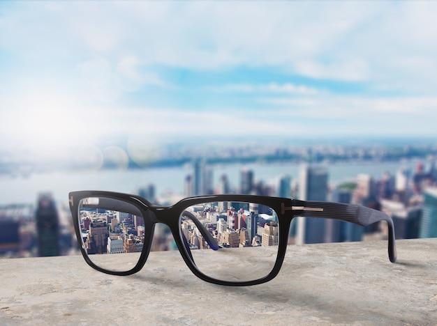 Nowoczesne okulary, które korygują wzrok od rozmycia do ostrości
