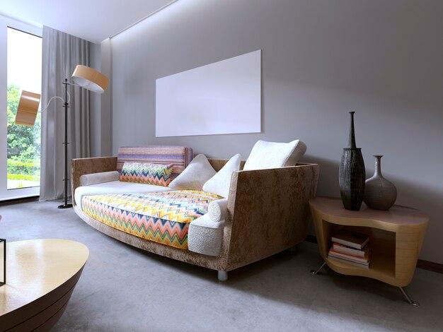 Nowoczesne piękne kolorowe wzory sof. salon i makieta plakat na ścianie. renderowania 3d.