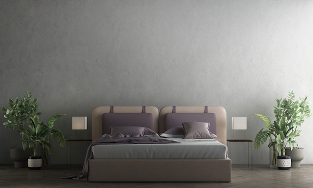 Nowoczesne, przytulne makiety i meble do dekoracji sypialni i betonowej ściany tekstury tła renderowania 3d