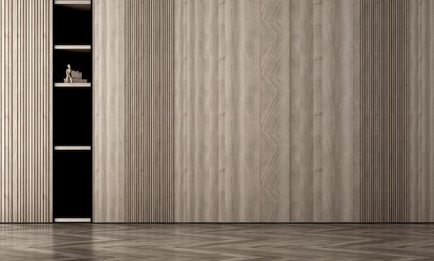 Nowoczesne, przytulne, puste wnętrze pokoju makieta, tło ściany z drewna, styl skandynawski, renderowanie 3d