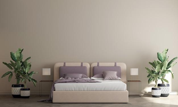 Nowoczesne, przytulne wnętrza sypialni i beżowa tekstura tło ściany