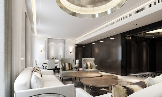 Nowoczesne, przytulne wnętrze domu makiety salon i jadalnia, przytulny stolik do herbaty i wystrój w ciemnym salonie, renderowanie 3d