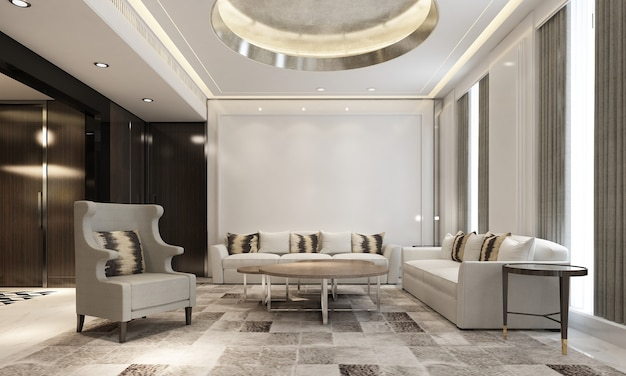 Nowoczesne, przytulne wnętrze domu makiety salonu i jadalni, przytulny stolik do herbaty i wystrój w luksusowym salonie, renderowanie 3d