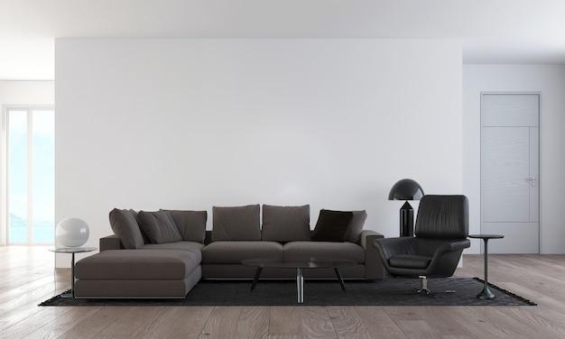 Nowoczesne, przytulne wnętrze makiety wystroju mebli projektowych i puste tło ściany i salonu oraz wzór ściany, renderowanie 3d