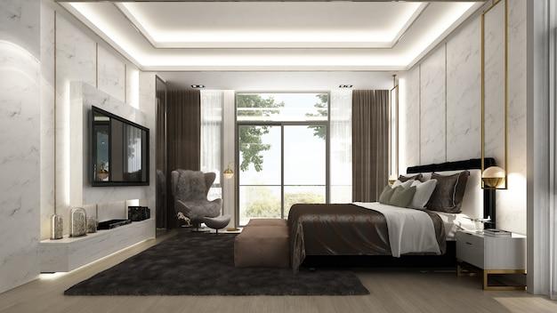Nowoczesne, przytulne wnętrze sypialni i telewizor lcd oraz widok na ogród