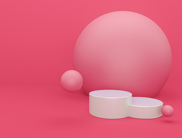 Nowoczesne różowe podium z renderowania 3d w tle