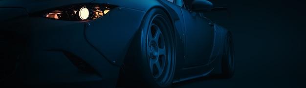 Nowoczesne samochody są w pokoju studyjnym. ilustracja 3d i renderowanie 3d.