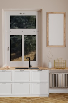 Nowoczesne skandynawskie wnętrze kuchni z oknem i drewnianą pustą ramą na minimalistycznym wnętrzu ściennym
