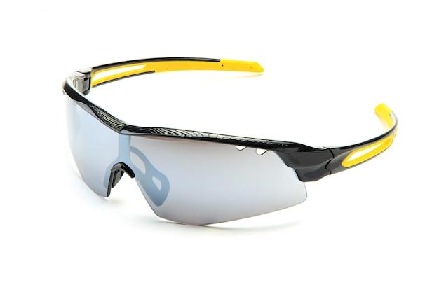 Nowoczesne stylowe żółte okulary przeciwsłoneczne do rowerów sportowych