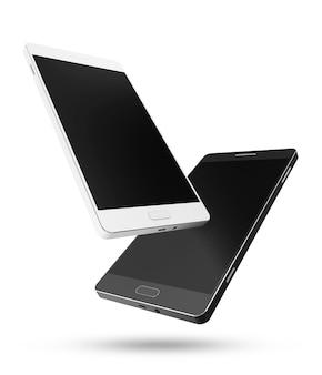 Nowoczesne telefony inteligentne czarno-białe na białym tle